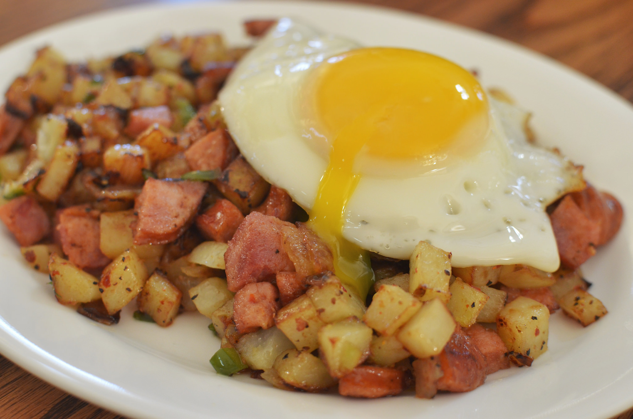 Breakfast Fry Hash with Smoked Sausage Kielbasa