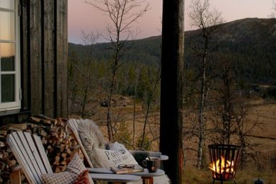 rustic time outside cabin